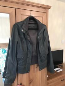 Grey Leather Next Bomber Jacket size 8 - Grab a bargain!' Cost £160 Great condition