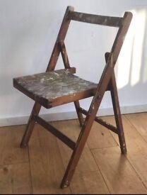 Mid Century Vintage Folding Oak chair