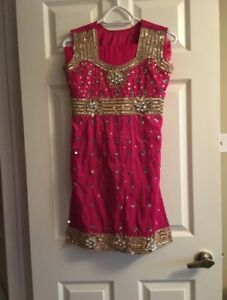 Stunning Hot Pink Suit with Gold Embroidery