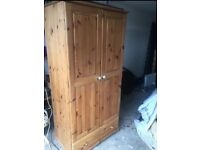 Solid pine wardrobe with bottom drawer