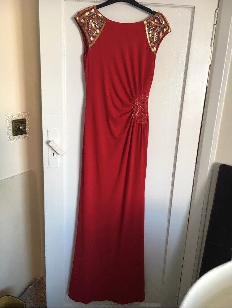Red and gold prom formal ball cruise JS Collections maxi beaded ...