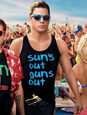 SUNS OUT GUNS OUT Tank Top T-shirt 21 22 Jump Street Summer Vest Adult Men (Suns Out Guns Out Tank Top)