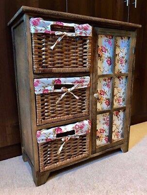 Chestnut Brown Storage Cabinet Unit Cupboard Wicker Drawers Baskets Bedside  Dining Room Wicker Cabinet