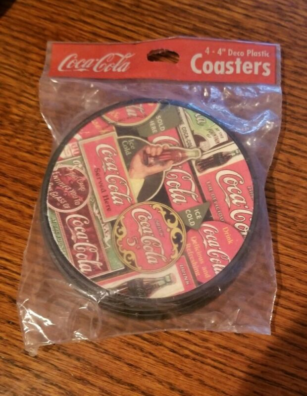 COCA COLA COASTER SET X4 NEW IN PACKAGE COKE DECO PLASTIC VINTAGE