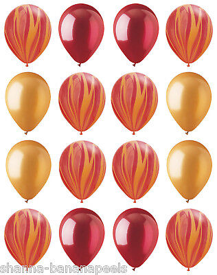 16 FIREMAN'S PARTY! Red Agate Swirl Gold Crystal Red Latex Balloons - Fireman Balloons