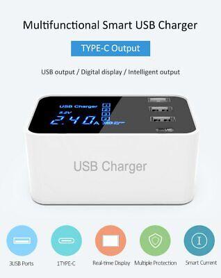 4 Multi-Port USB Adapter Desktop Wall Charger Smart LED Display Charging Station