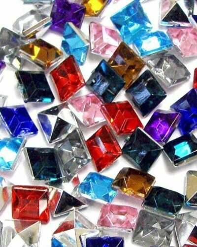 Acrylic Gems Plastic Gems 200 pcs Faceted Square Diamond Cabochon Mix Color size