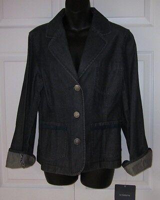 Liz Claiborne Womens Navy Blue Jean Jacket Large Sharp Must C