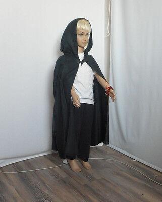 s38) Mittelalter Larp Gothik  Umhang Cape schwarz Kapuze Kinder Gr 104 (Schwarzes Cape Kapuze)