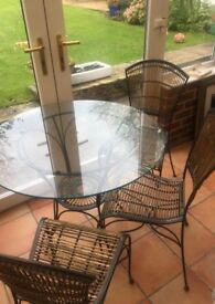 Glass Bistro Table & 3 Chairs -