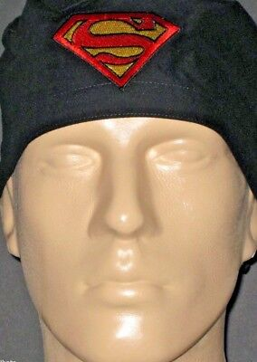 SUPERMAN EMBLEM BLACK BACKGROUND SCRUB HAT RARE / FREE CUSTOM SIZING!