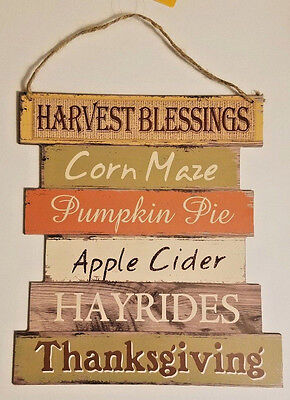 HARVEST BLESSINGS FALL THANKSGIVING AUTUMN DECORATIVE HANGING SIGN 10.5 X 11.5