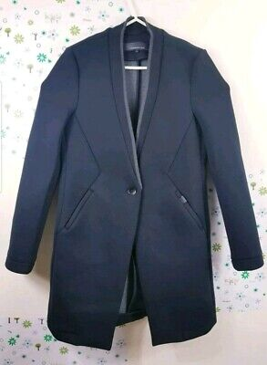 Mens Superdry Black peacoat jacket slim Small/Medium style coat pea