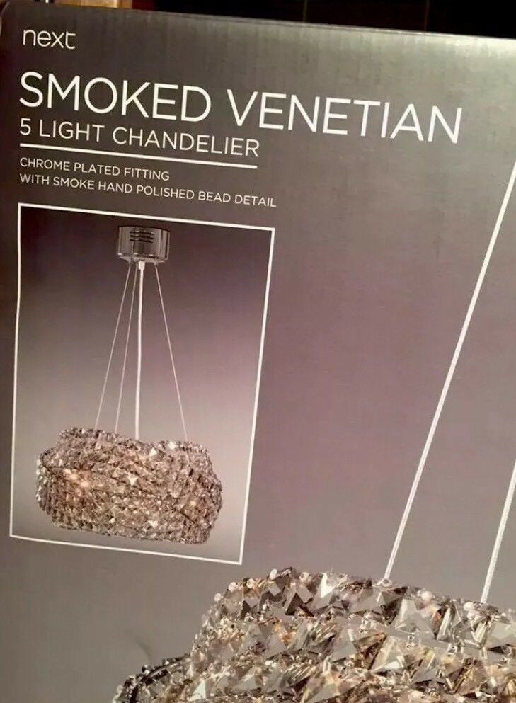 Next Venetian 5 Light Smoked Ceiling Chandelier New Boxed 220