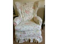 Wing back chair with loose covers
