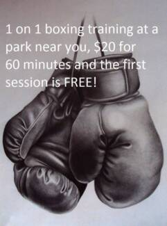 1 on 1 boxing training, $20 for 60 minutes, first session is FREE