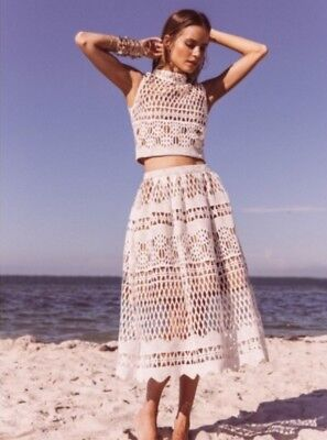 NEW Free People Ministry Of Style Demure Set Size 4 White Crop Top & Skirt