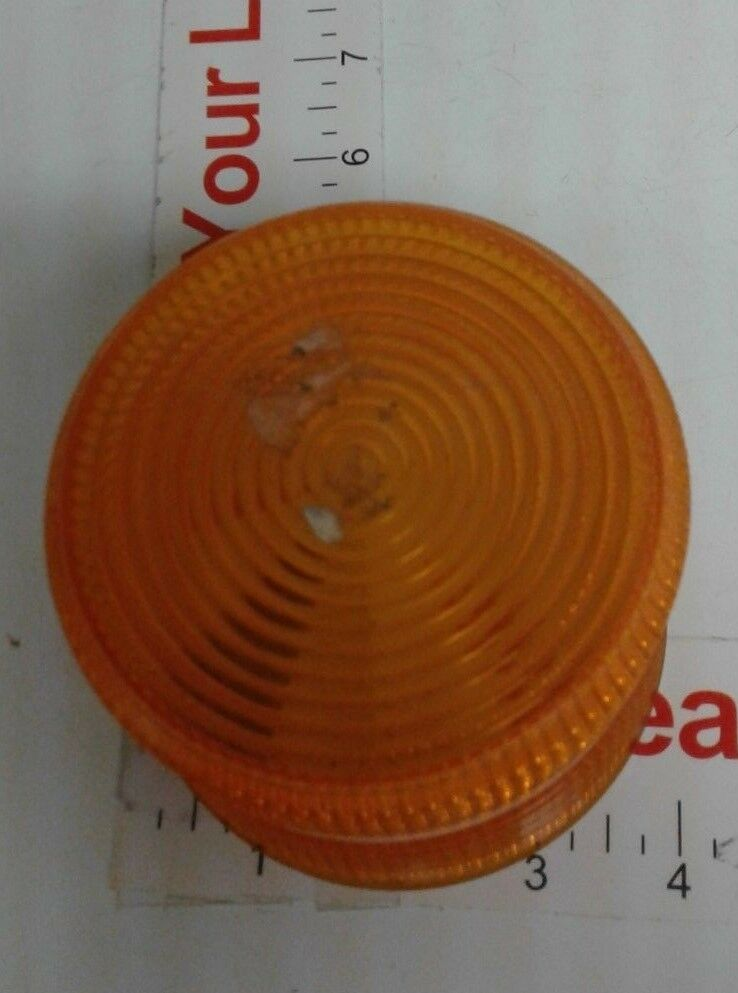 "AMBER STROBE REPLACEMENT POLYCARBONATE  LENS, 4"" DIAMETER, 3 1/2"" HIGH, NEW"