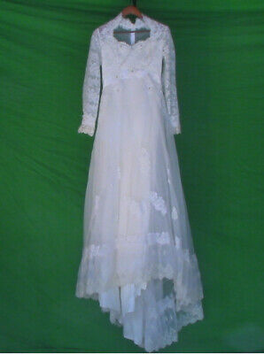 White/Off White Vintage Lace Wedding Dress Size 12