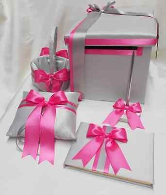 Wedding Light Gray Hot Pink  Flower Girl Basket Ring Pillow Guest Book Card Box Basket Pillow Guest Book Box