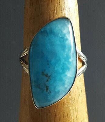 Smithsonite 925 Fine Sterling Silver Ring Size 7 Genuine Stone Superb Shape
