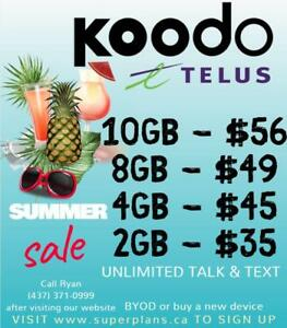 10GB $56/mo or 8GB $49/mo - Reduced Setup Fee - KOODO UNLIMITED CELL PHONE PLAN - Ryan SuperPlans 2/4/6/8/10/15GB