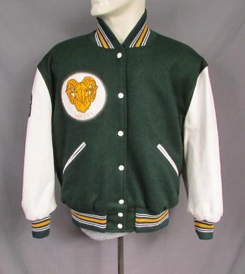 Vintage 1970s Wolle Varsity Jacke Leder Ärmel Ram Patch Gnade Christian Sz46 Varsity Jacke Patches