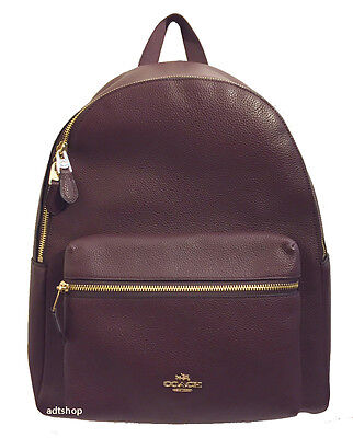 NWT Coach Charlie Backpack in OXBLOOD Pebble Leather Purse 38288 ADORABLE!