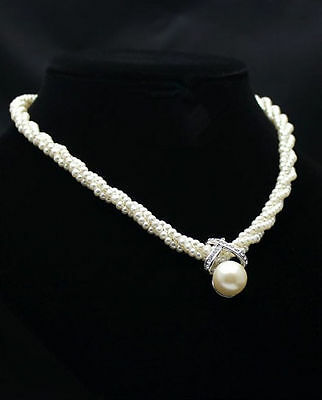 Fashion Lady Pendant Chain Choker Chunky Pearl Statement Bib Necklace Jewelry