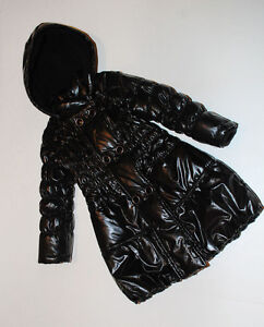 Deux Par Deux Black Shiny Winter Puffer Black Girls Coat Size 8