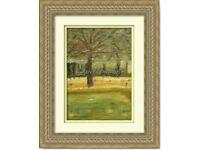 Original Hand Painted Oil Pastels Art vintage style Painting Park Tree