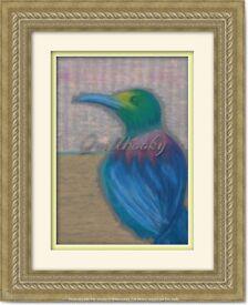 Original Hand Painted Oil Pastels Art Painting Blu Bird decoration vin