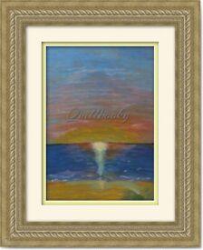 Original Hand Painted Oil Pastels Art Painting Sea Sun decoration