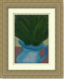 Original Hand Painted Oil Pastels Art Painting Bouquet in Vase decorat