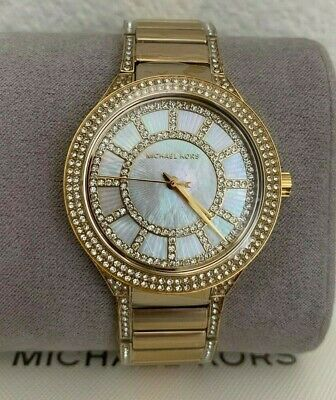 NIB Michael Kors Women's Kerry Crystal Accented Bracelet Watch,38mm MK 3312 Gold