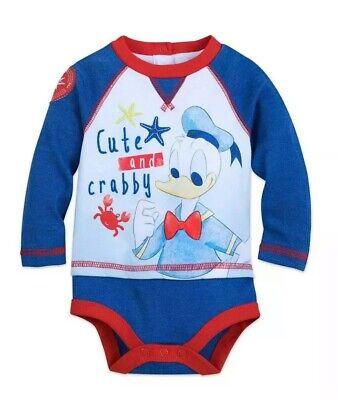 Disney Store Baby Boys L/S Donald Duck One Piece Bodysuit Cute & Crabby 9-12 Mon