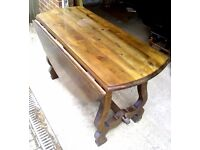 ANTIQUE SOLID OAK DROP DINING TABLE & FOUR CHAIRS - LOCAL FREE DELIVERY