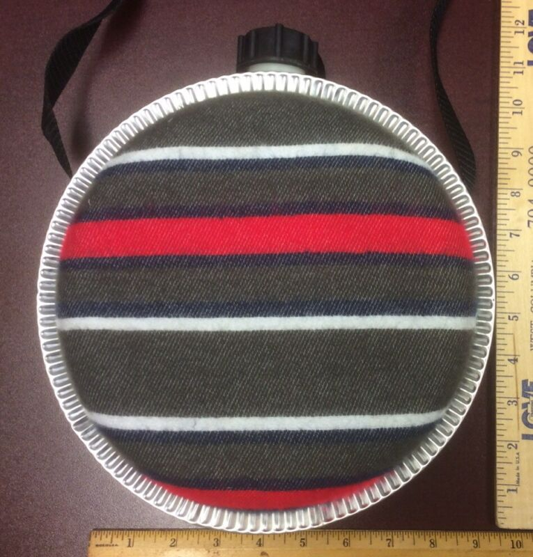 Striped Felt Metal Canteen With Strap