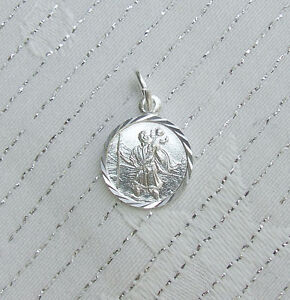 ST CHRISTOPHER PENDANT CHARM ENGLISH 925 STERLING SILVER