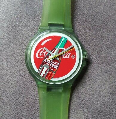 Coca Cola Bottle Swiss Made Swatch Green Water Resistant Watch 387
