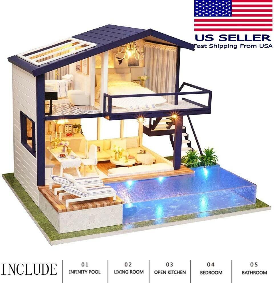 DIY Apartment/ House Dollhouse w/ Pool Miniature Kit Doll House w/ Dust Cover Doll Houses
