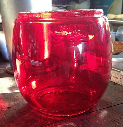 Vintage Embury Railroad Lantern Glass Red Globe No. 10 - Bright Red - NICE!!