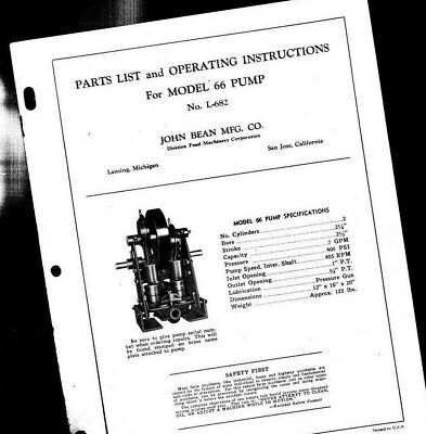 Vintage John Bean Mfg Model 66 Pump Parts List Instructions Manualhit Miss