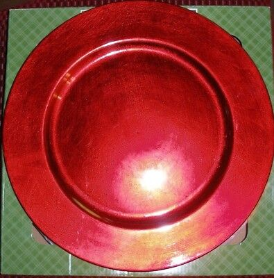 Plate Chargers Set of 4 Red Round Holiday Table Decoration NEW IN BOX for sale  Scappoose