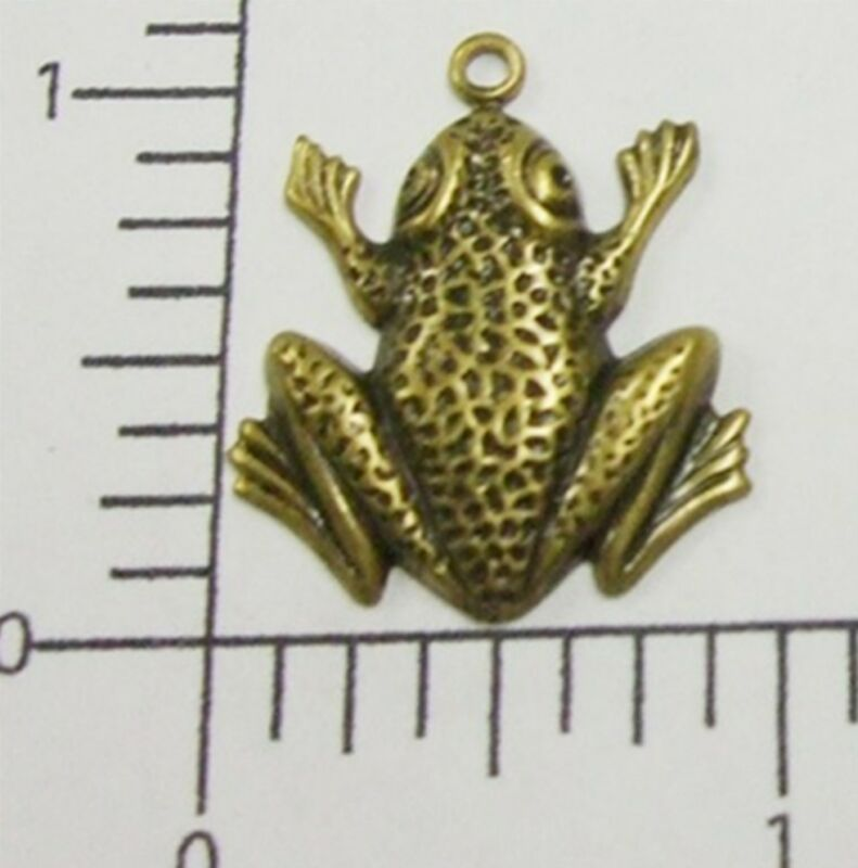 48763       2 Pc Brass Oxidized Small Frog Jewelry Finding Charm