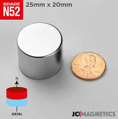 2pcs 1in X 34in 25 Mm X 20 Mm N52 Strong Rare Earth Neodymium Magnet Cylinder