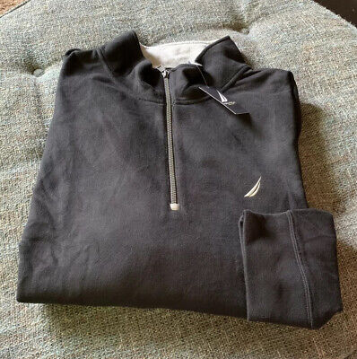 Nwt Nautica 1/4 Zip Pullover Sweatshirt Big&Tall Size 4XLT Black R9