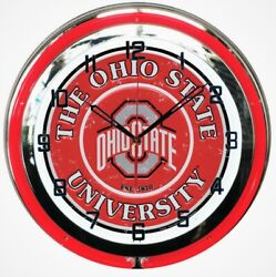 18 Red Ohio State University Buckeyes Double Neon Wall Clock Man Cave Sign NEW