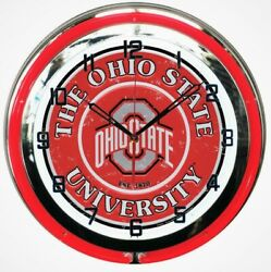 18 Red Ohio State University Buckeyes Double Neon Metal Wall Clock Man Cave NEW