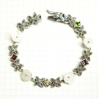 MOTHER of PEARL FLOWERS BRACELET Marcasite .925 STERLING SILVER (7.5